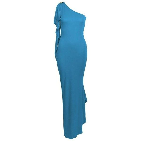 Preowned 2000s Blue Marc Bouwer One Shoulder Gown ($1,000 ...