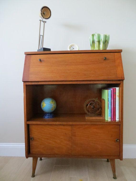 Mid Century Modern Secretary Desk Bookcase Cabinet Dropleaf Eames Era