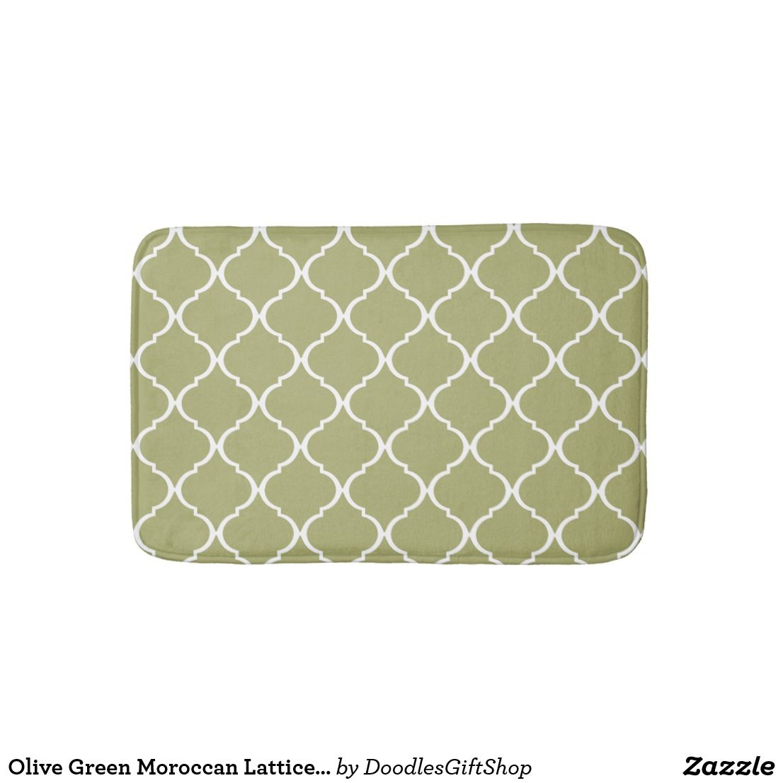 Olive Green Moroccan Lattice Pattern Bathroom Mat Zazzle Com