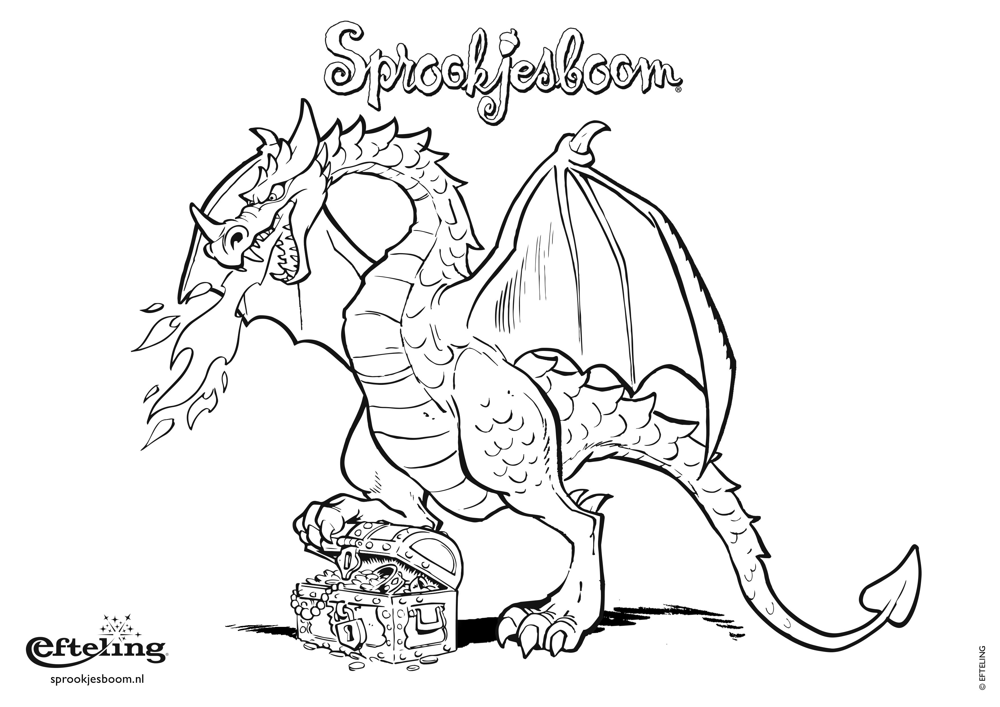 Sprookjesboom Kleurplaat Draak Met Schatkist Dragon Cp Pinterest
