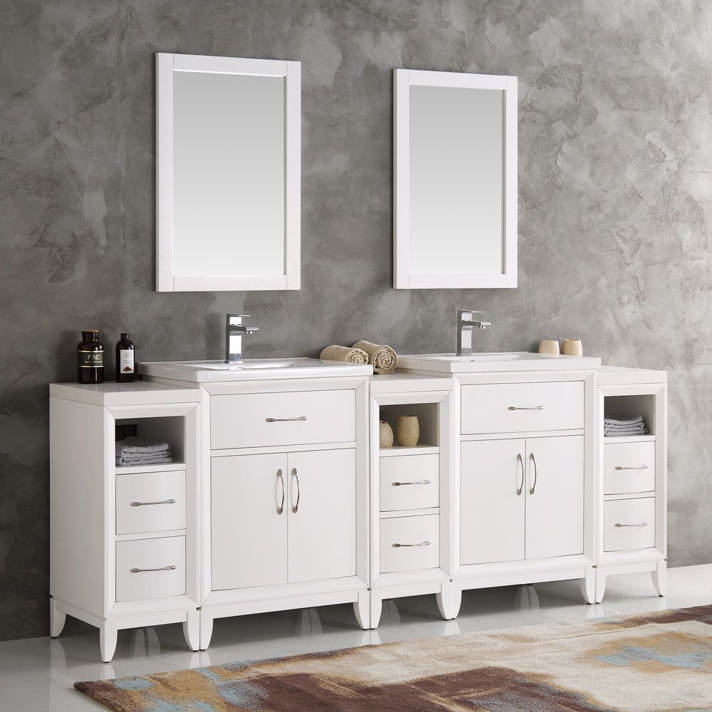 Fresca Cambridge White 84 Inch Double Sink Traditional Bathroom