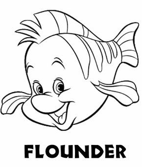Flounder   Disney coloring pages, Fish coloring page
