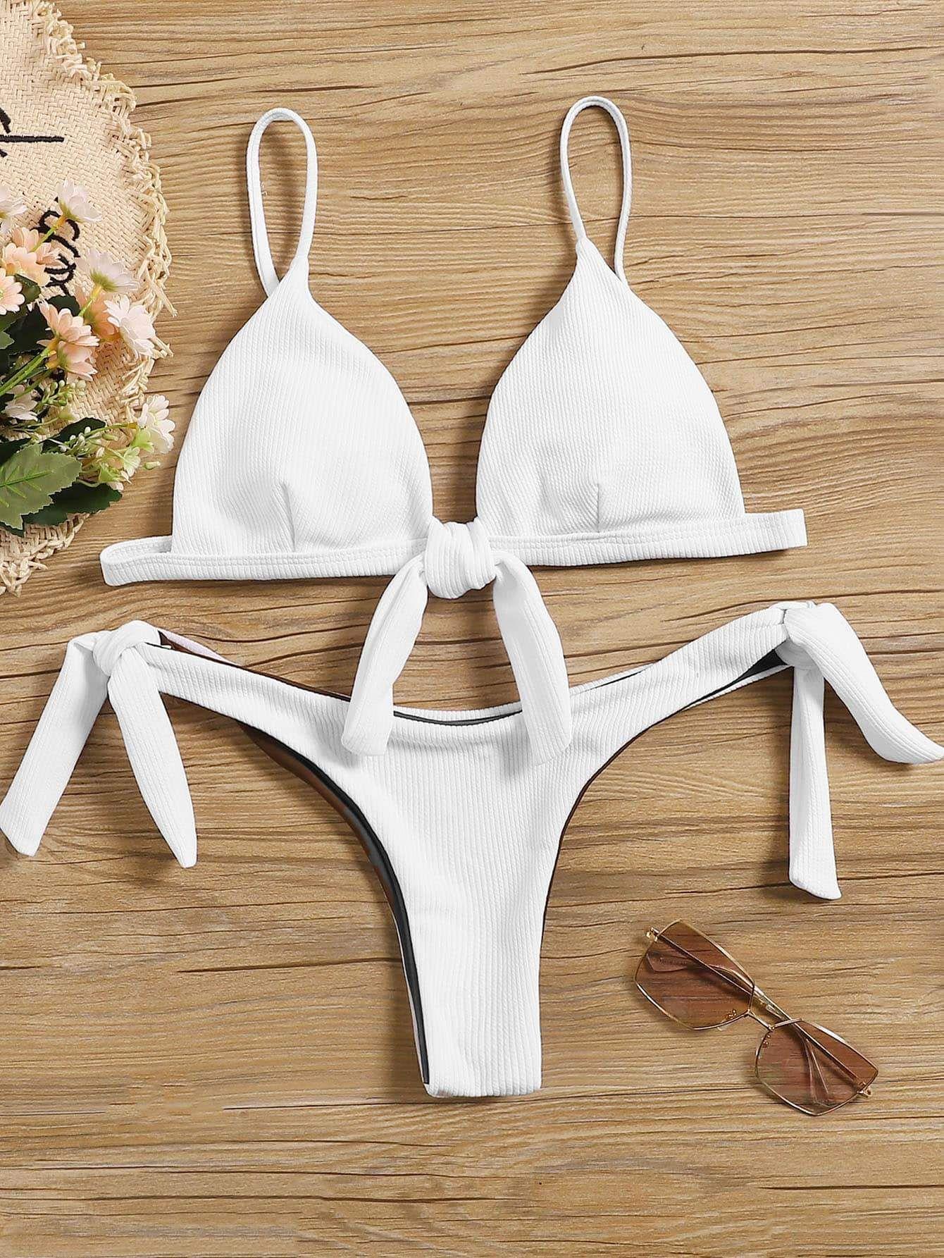 2b63771e053 Ribbed Triangle Top With Tie Side Bikini Set in 2019 | Bikinis ...