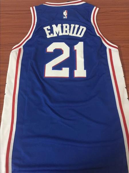 Men 21 Joel Embiid Jersey Blue Swingman Philadelphia 76ers Jersey Fanatics Nreball Jersey Nba Jersey Basketball Jersey