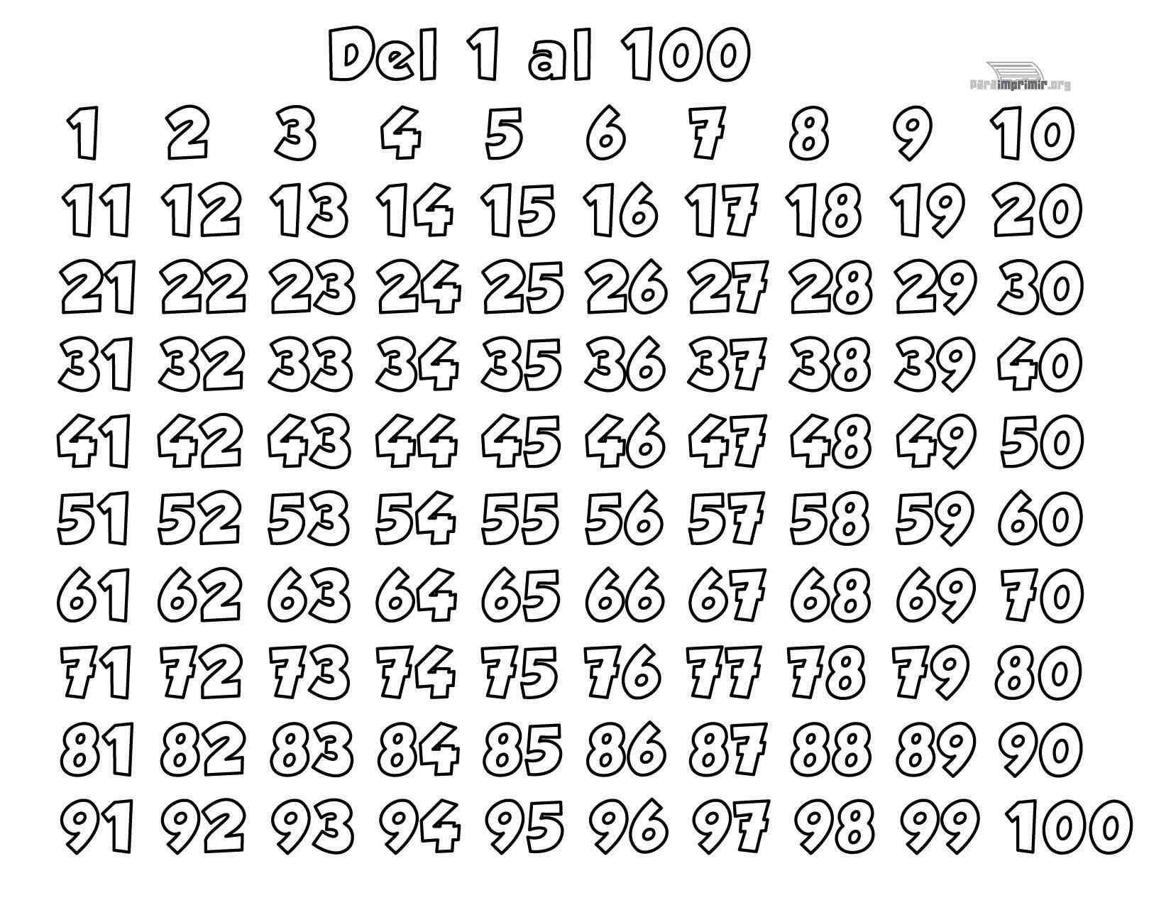 Worksheets 1 Al 100 los numeros del 1 al 100 para imprimir jpg naomeros imprimir