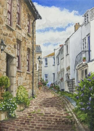 Fishermens Cottages St Ives, Alice Hole- Paintings, Alice Hole, SAA Professional Members' Galleries