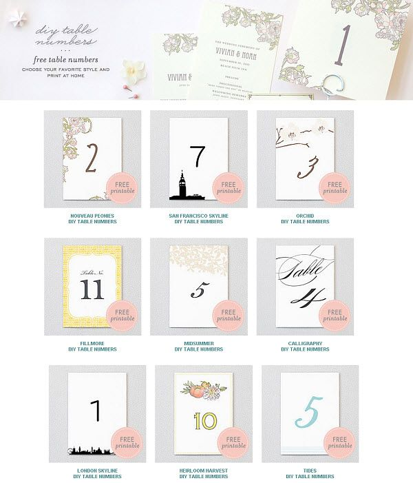 free diy printable wedding table numbers perfect for the diy bride