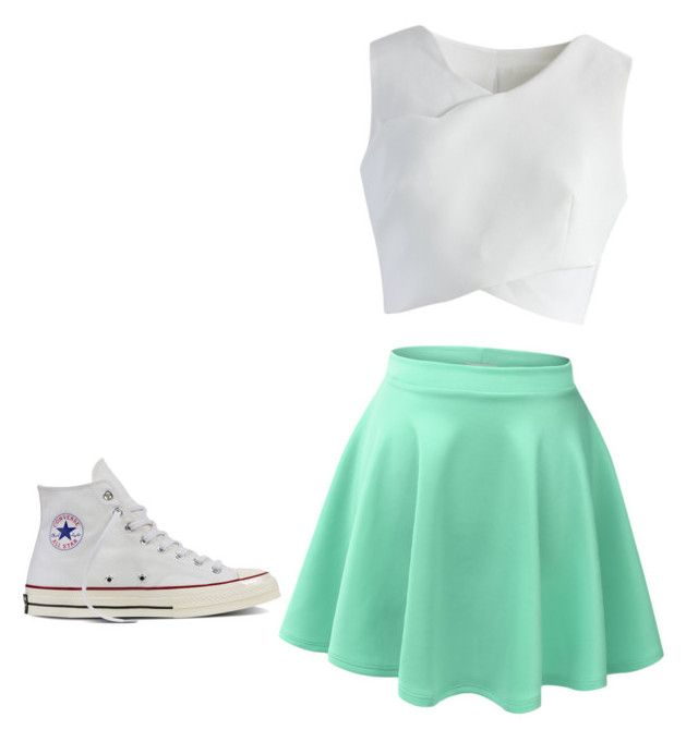 """""""Cute teen outfit"""" by rainbowtiger04 on Polyvore featuring LE3NO, Chicwish and Converse"""