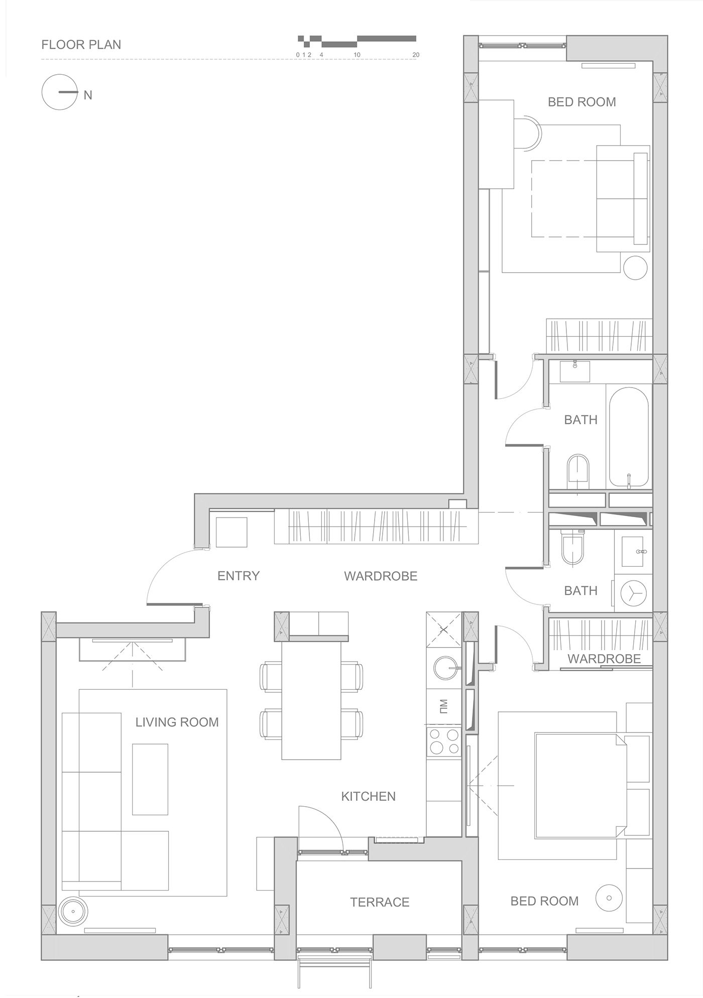 Double Bedroom L Shaped Home Design 2 Examples With Floor Plans Apartment Floor Plans Floor Plan Design L Shaped House Plans