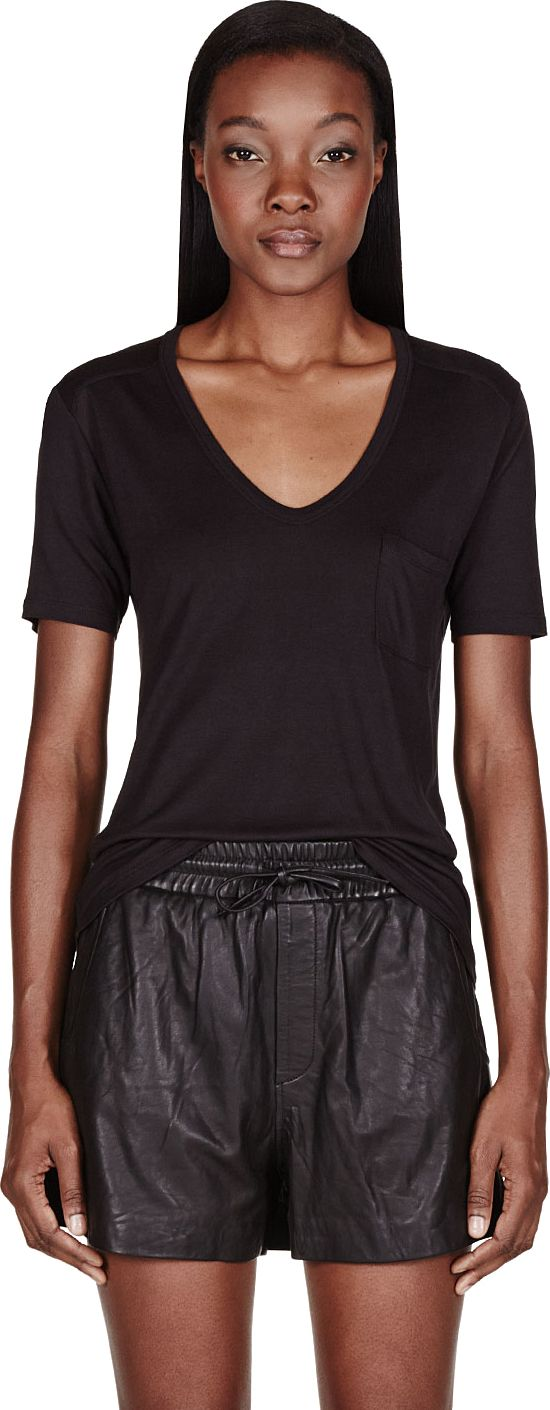 T by Alexander Wang - Black Classic Pocket T-Shirt