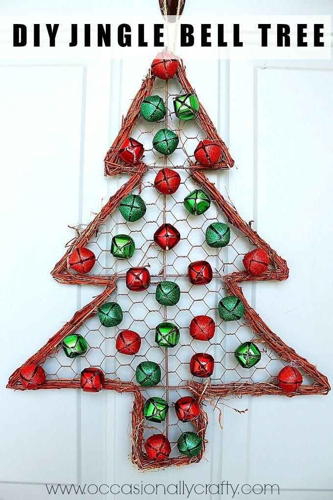Jingle Bell Christmas Tree Door Hanger Jingle Bell Crafts Christmas Bells Christmas Arts And Crafts