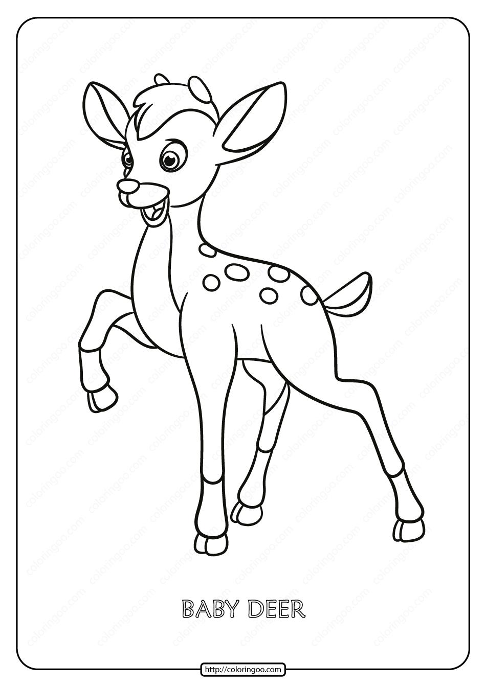 Printable Baby Deer Pdf Coloring Page Deer Coloring Pages Coloring Pages Animal Outline