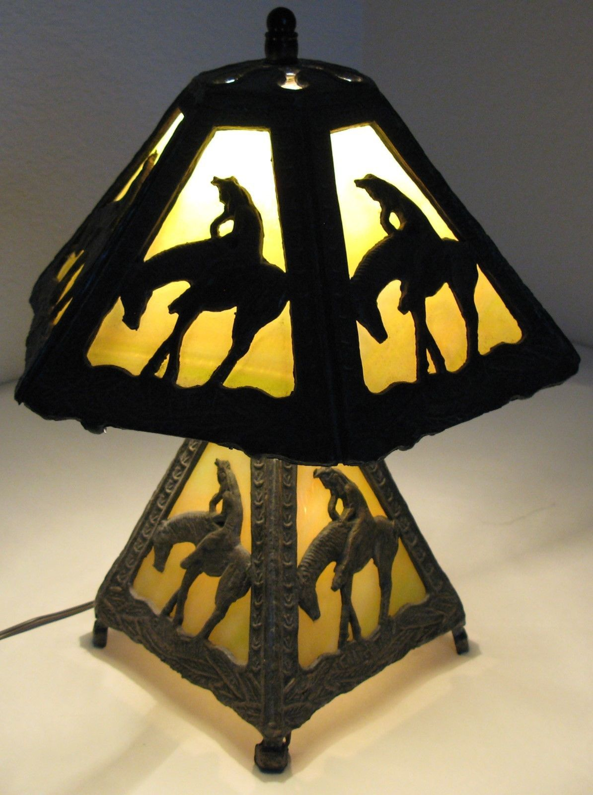 Antique leaded stained slag glass table lamp indian end of the trail antique leaded stained slag glass table lamp indian end of the trail unusual ebay mozeypictures Choice Image