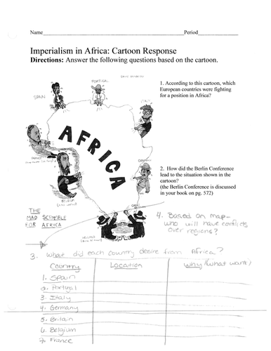 Imperialism: Scramble for Africa- Political cartoon analysis and ...