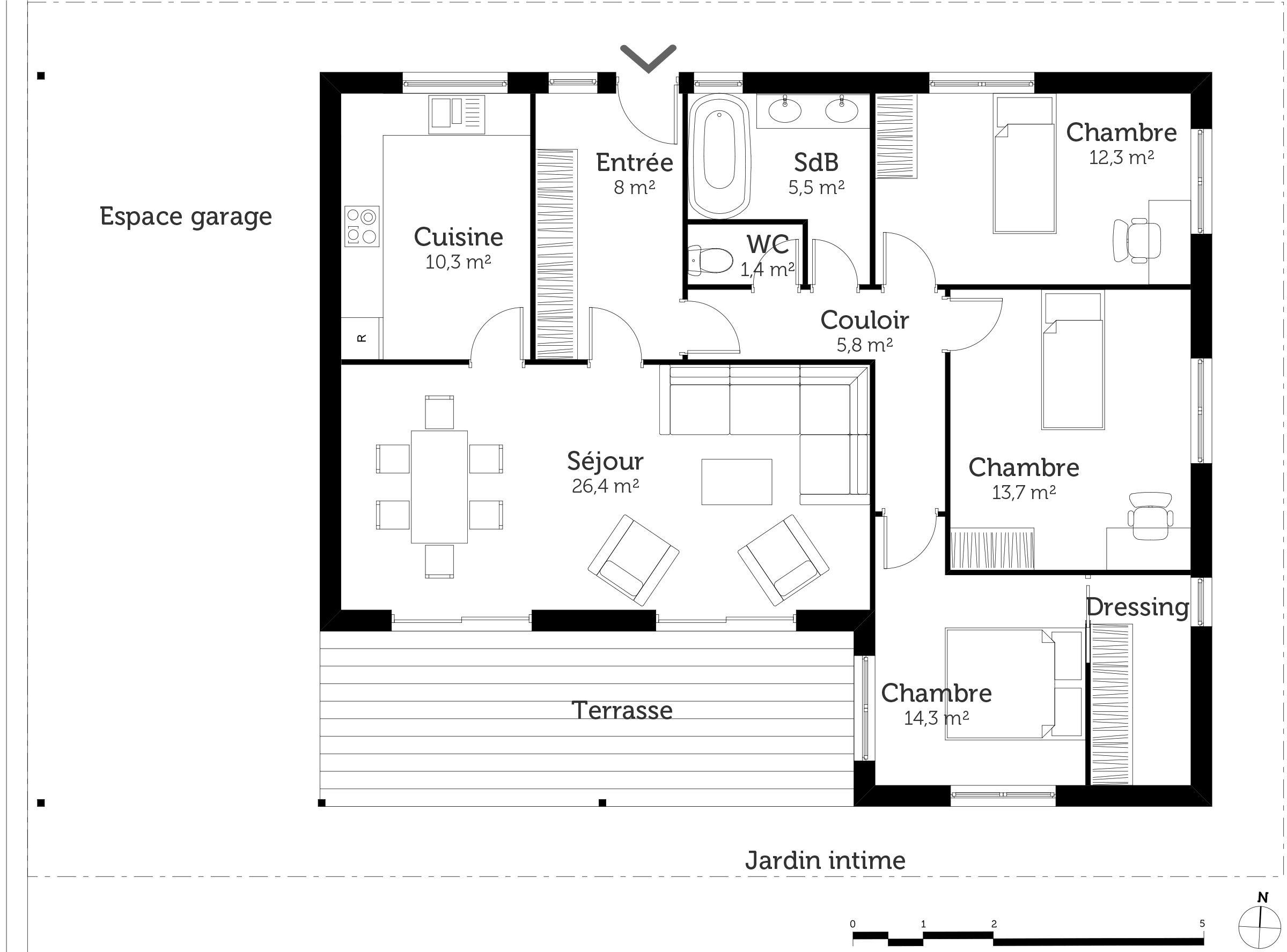 R sultat de recherche d 39 images pour plan maison 3 for Plan maison de plain pied 3 chambres
