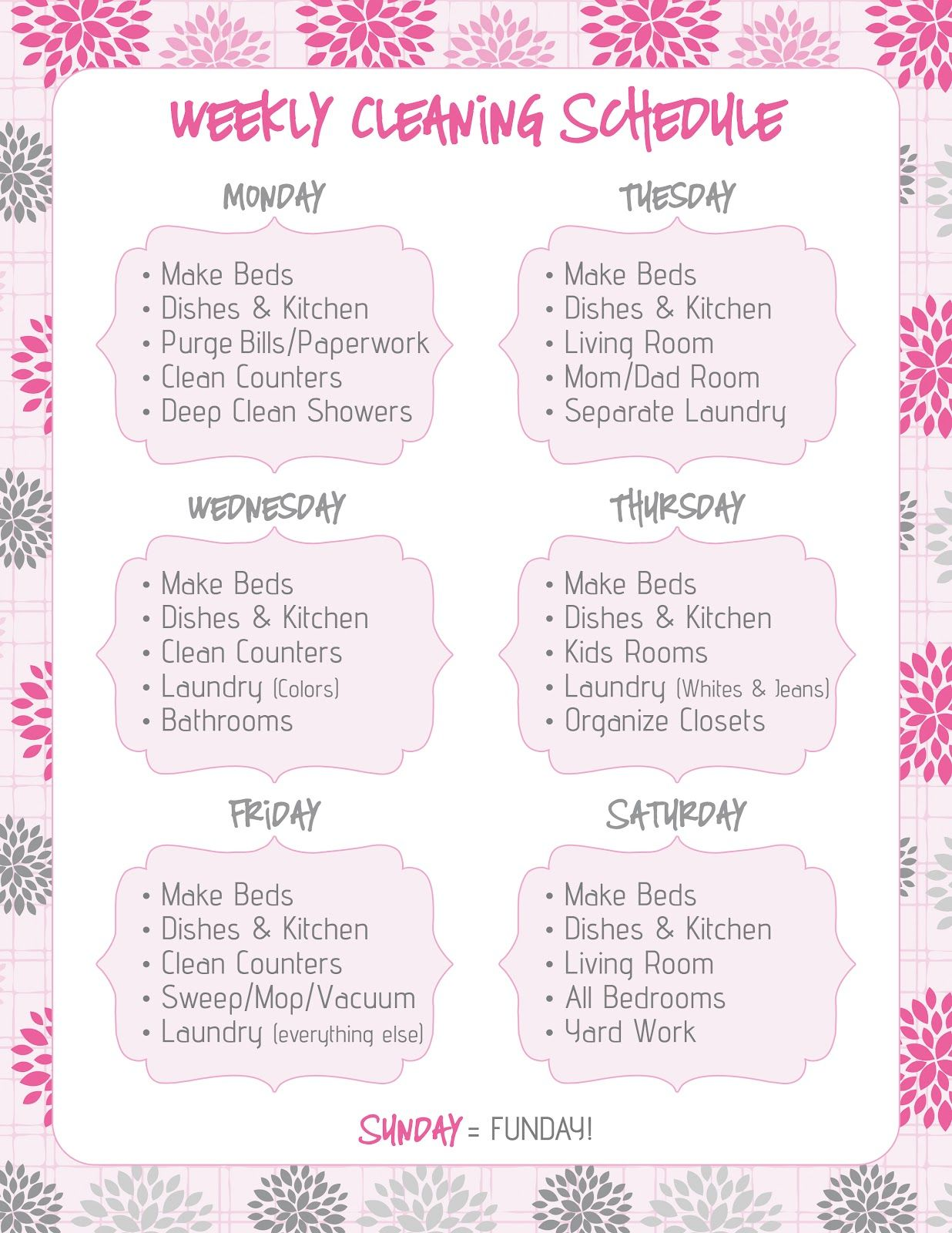 Household cleaning schedule | Mom's Command Center/Family Binder ...