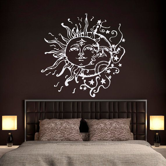 sun moon stars wall decals for bedroom sun and moon wall decal ethnic decor sun moon crescent. Black Bedroom Furniture Sets. Home Design Ideas