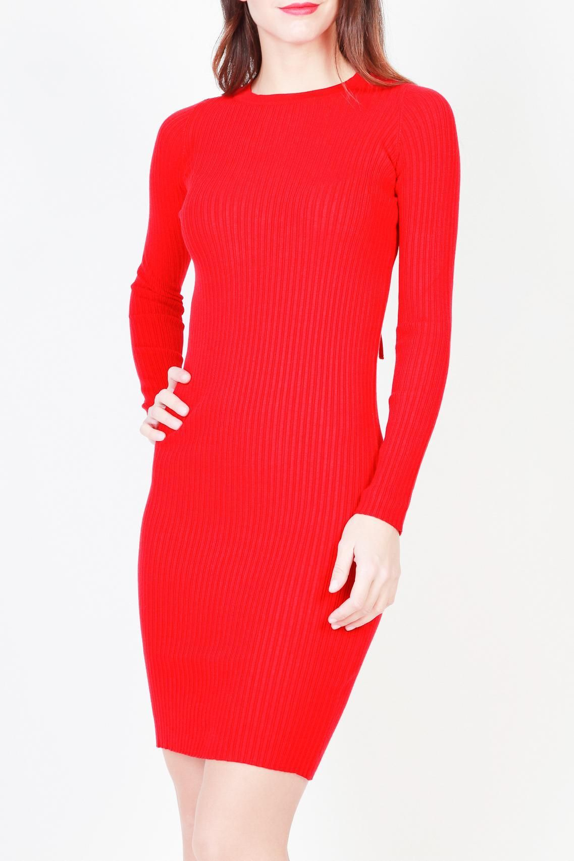 ca3539aee10 Pinko Red V-Neck Long Sleeve Knit Dress