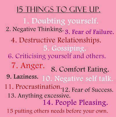 15 things to give up Thoughts