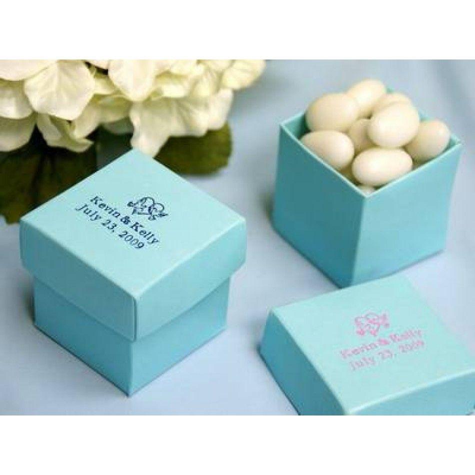 2 PC Personalized Favor Boxes 2x2x2 - Turquoise Tiffany Blue (Bulk ...