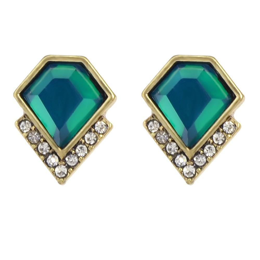 Pretty Green Jewel Stud Earrings   Products   Pinterest   Metal ...