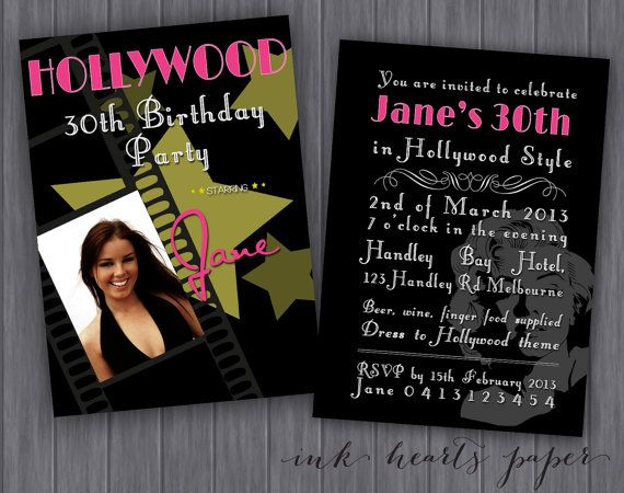 DIY PRINTABLE Hollywood Theme Birthday Party by InkHeartsPaper