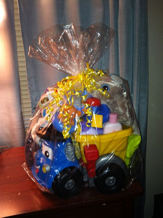 Diy baby shower gift basket ideas for boys baby shower gift basket beep beep diy baby shower gift basket ideas for boys negle Image collections