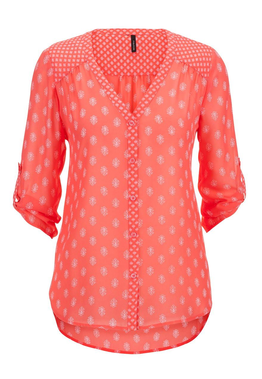Floral Patterned V Neck Chiffon Button Down Maurices Com