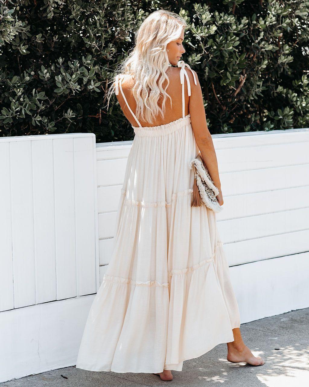 Catch The Sun Pocketed Tiered Maxi Dress Eggshell Vici White Maxi Dress Boho Tiered Maxi Dress Beachy Maxi Dress [ 1280 x 1024 Pixel ]