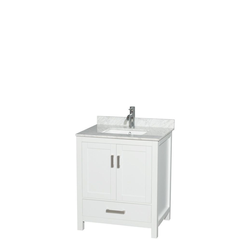 Wyndham Collection Sheffield 30-inch White Single Vanity, Undermount Square Sink (White Carrera Marble Top), Size Single Vanities