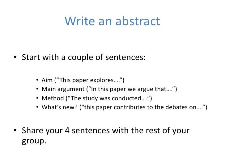 writing an abstract example Why writing a strong abstract is example: results from quantitative abstract weak results: how to write an abstract.