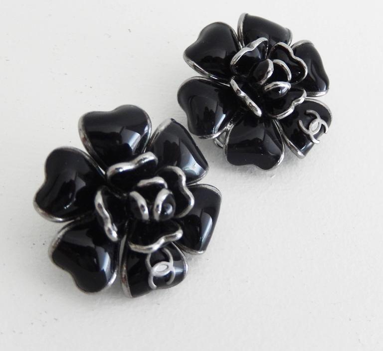 Vintage Chanel Black Gripoix Camellia Floral Earrings Clip On Earrings Floral Earrings Vintage Chanel