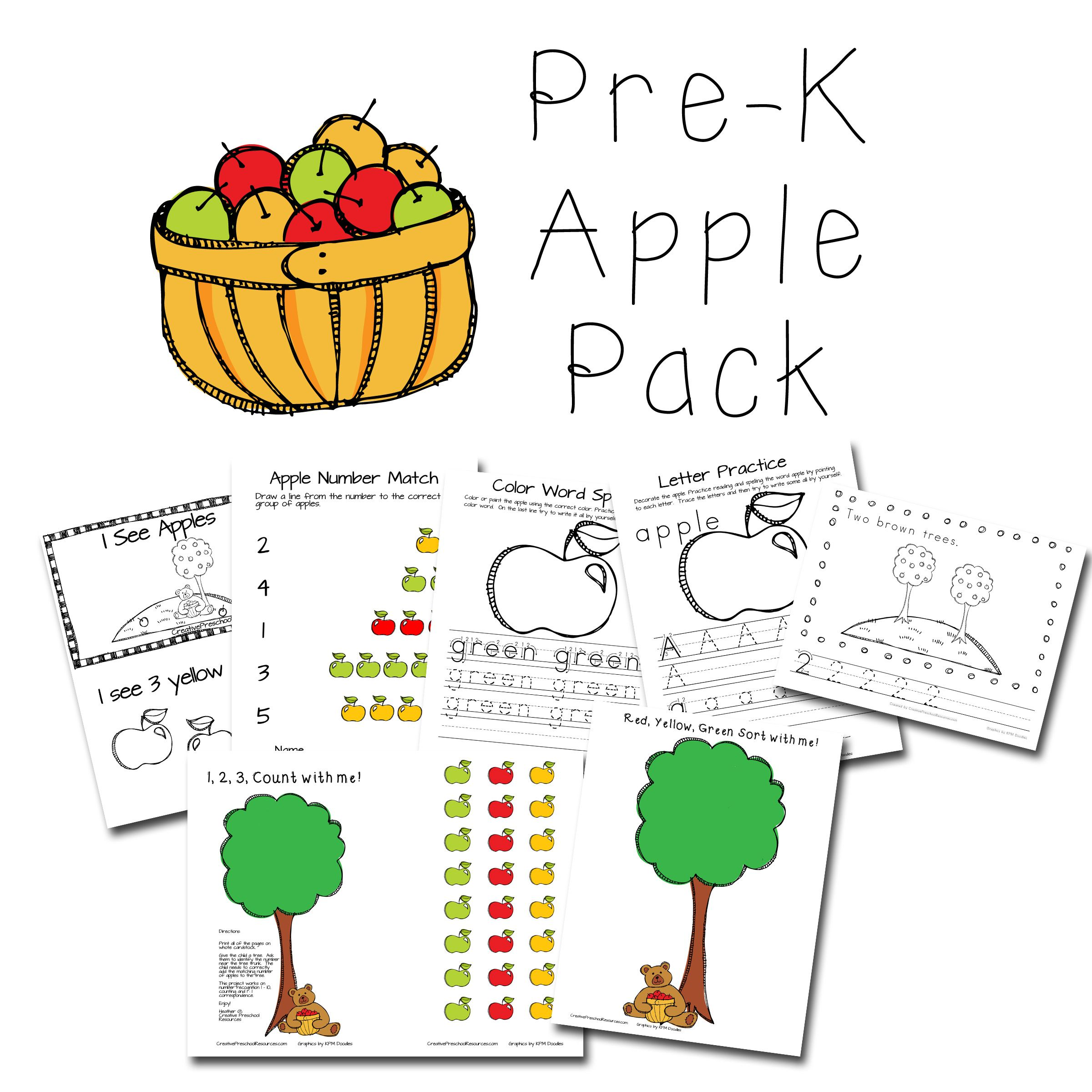 Super Cute Pre K Apple Themed Pack For Preschool Or Kindergarten