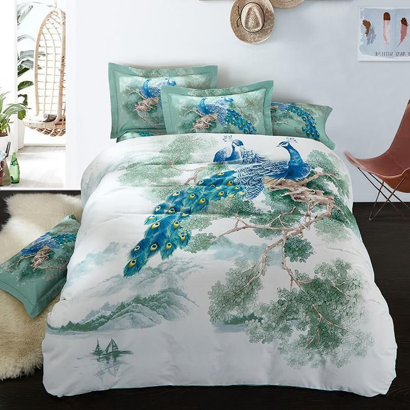 Peacock Birds Printed Bedding sets Thick Cotton Winter Bed linen ... : thick quilts for sale - Adamdwight.com