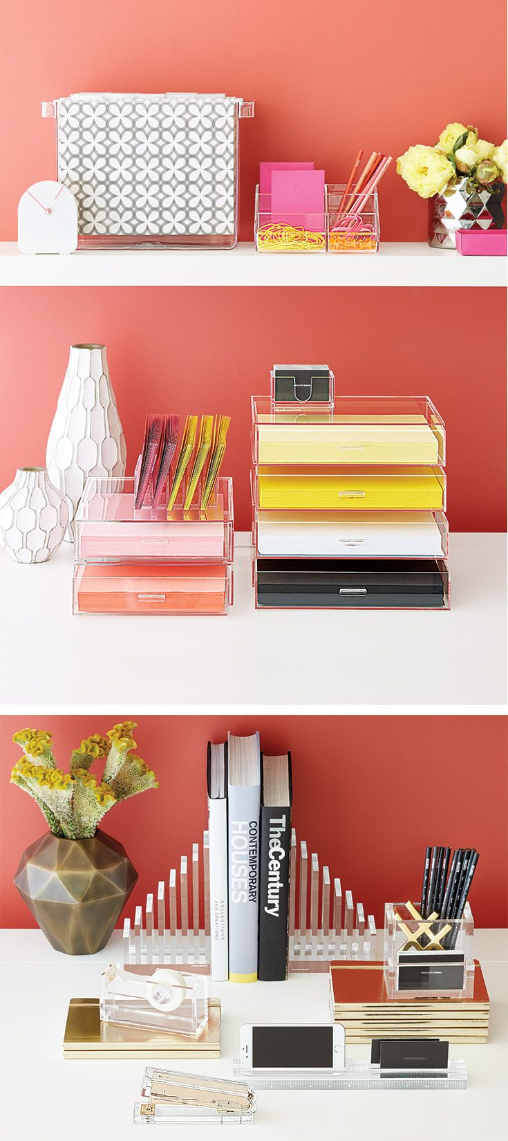 Our Clear Acrylic Desktop Collection Lets Your Accessories Shine On Their Own Diy Desk Accessories Cubicle Accessories Desk Accessories Office
