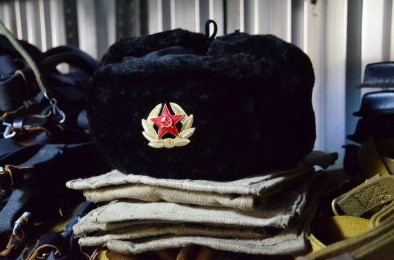 9e6fcada000 New Soviet and Russian Black army hat ushanka! Faux fur! Hat is sold with 2  different Red Stars