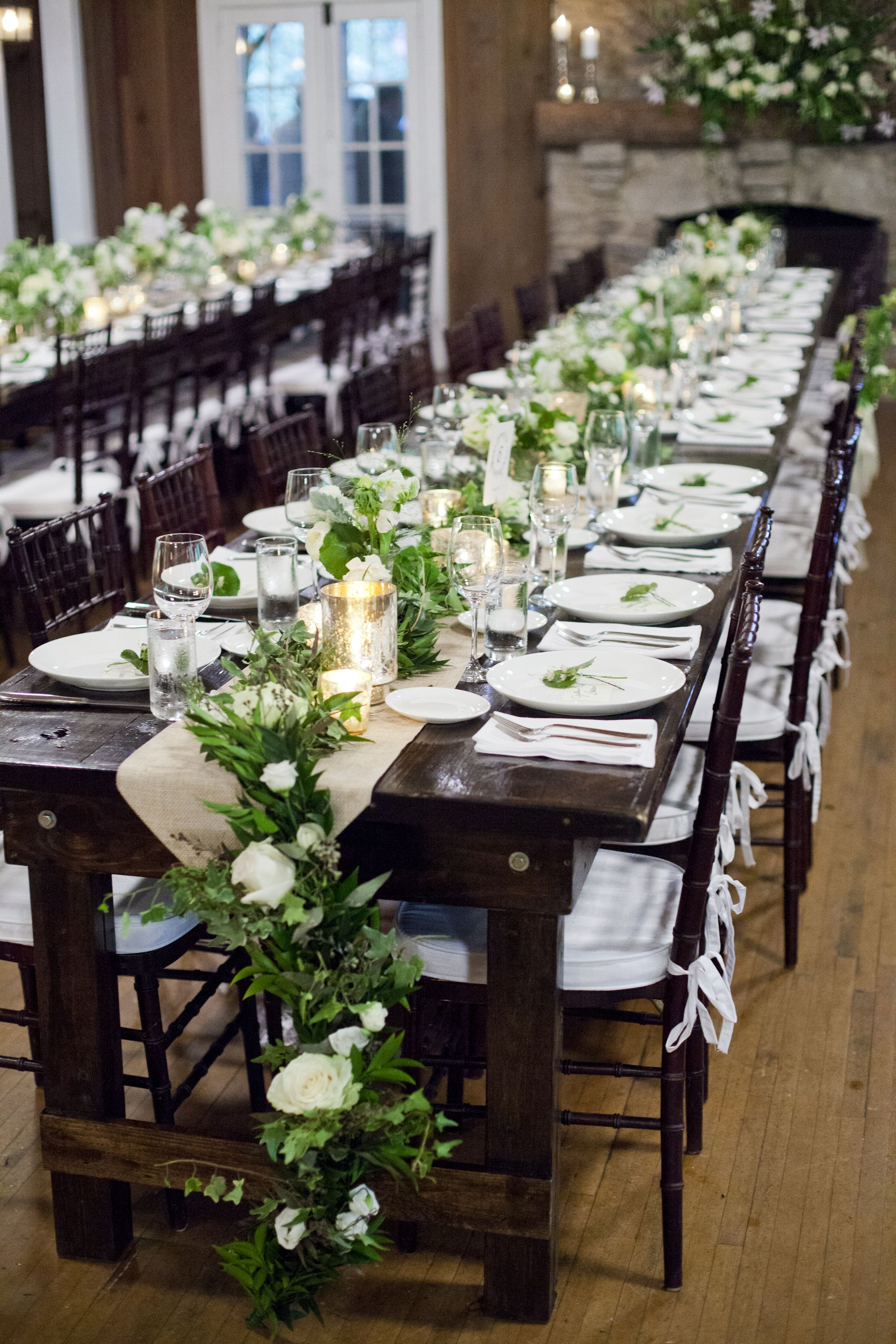 Natural Green Garland Decorated Wedding Tablescape