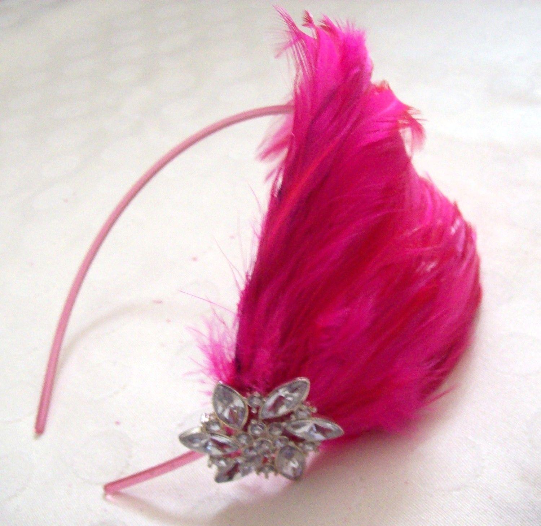 Hip Momma Hot Pink Feather Headband by JensCraftCorner on Etsy, $15.00