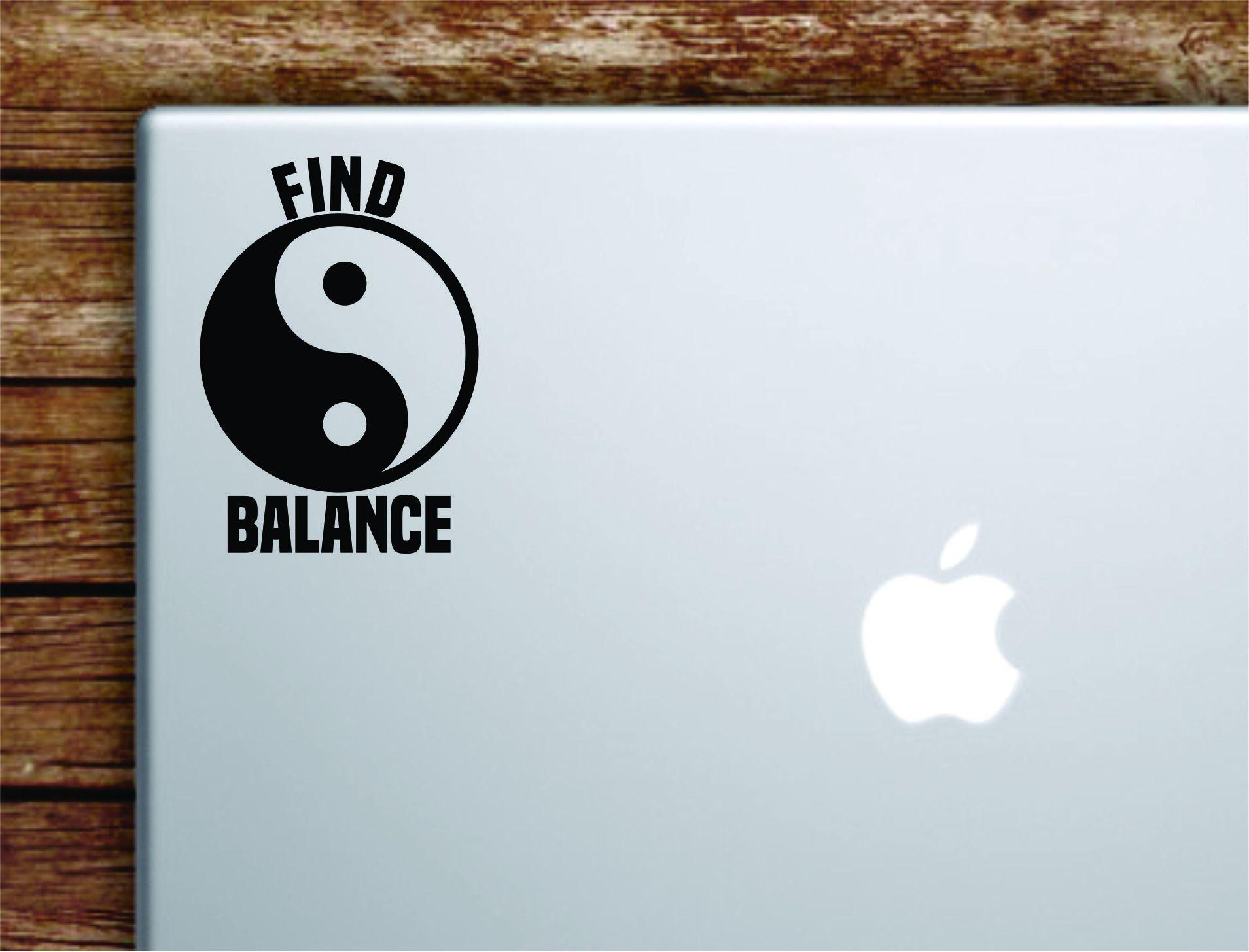 Find Balance Laptop Wall Decal Sticker Vinyl Art Quote Macbook Apple Decor Car Window Truck Kids Baby Teen Inspirational Yoga Yin Yang - saphire blue