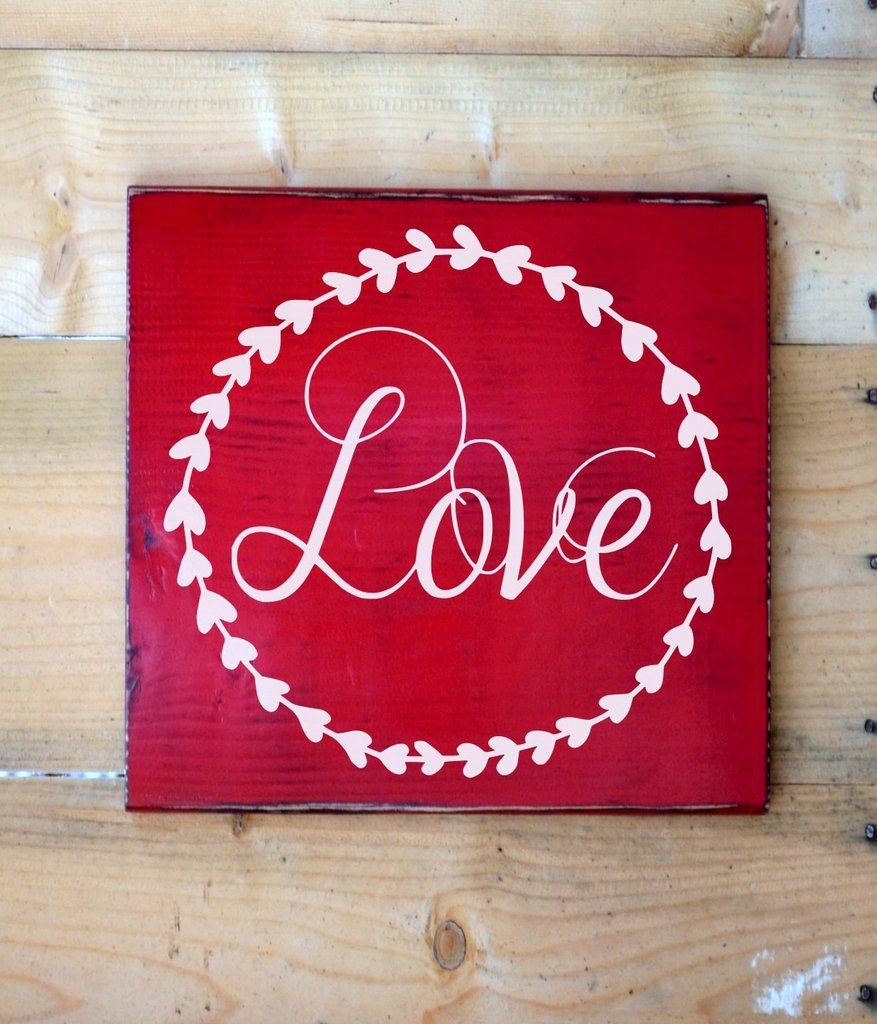 love words letters wall art signs rustic love wood sign red wedding decor sign laurel wreath - Valentine Signs