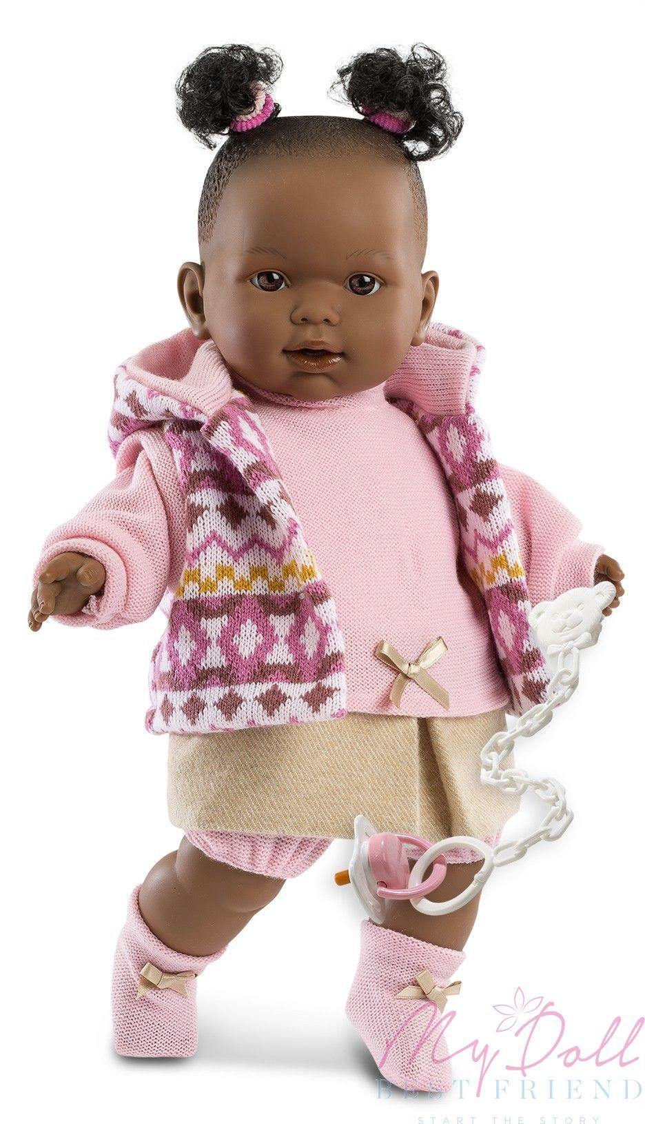 Llorens Nicole Black Baby Girl Doll 42cm in pink Black
