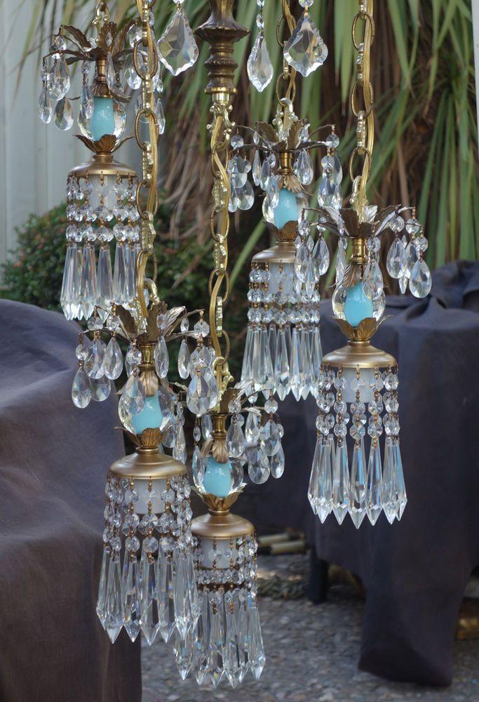 5Lt Vintage Aqua Robin egg glass tole Brass ceiling lamp chandelier swag Lantern $657