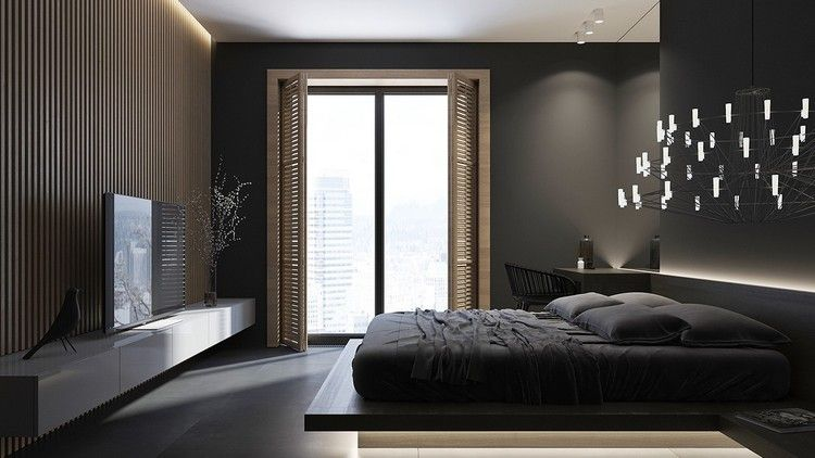 peinture noir mat, parement bois, meuble télé blanc laqué, lit bas - peindre un meuble laque blanc