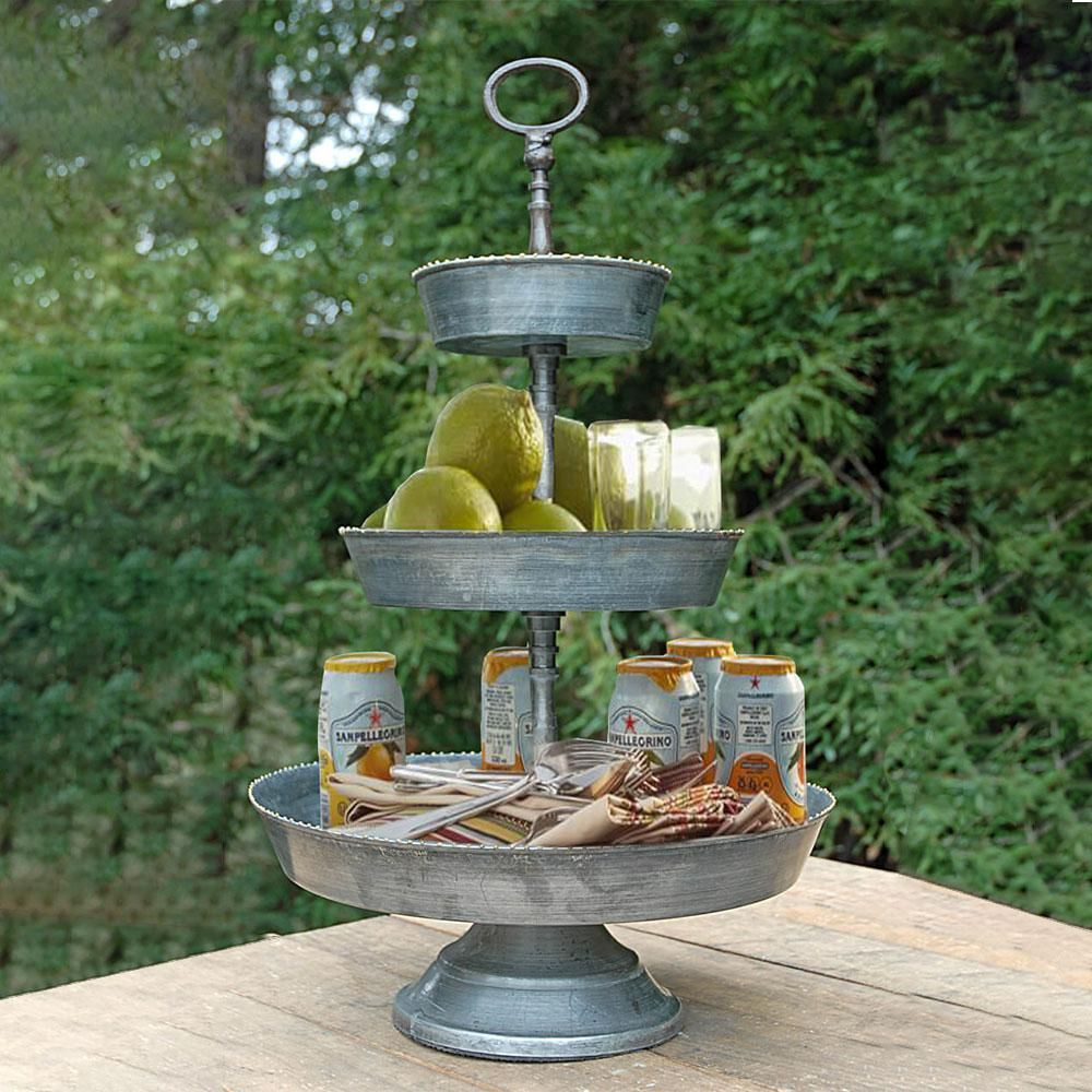 Benzara Silver Galvanized 3 Tier Studded Metal Tray Bm02388 Tiered Stand Metal Trays Kitchen Countertop Materials