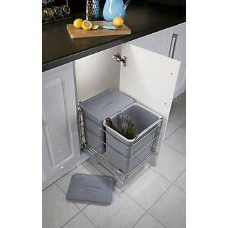 Hafele Pull-Out Waste Bin System Grey 2 x 15Ltr | Kitchens, Storage ...