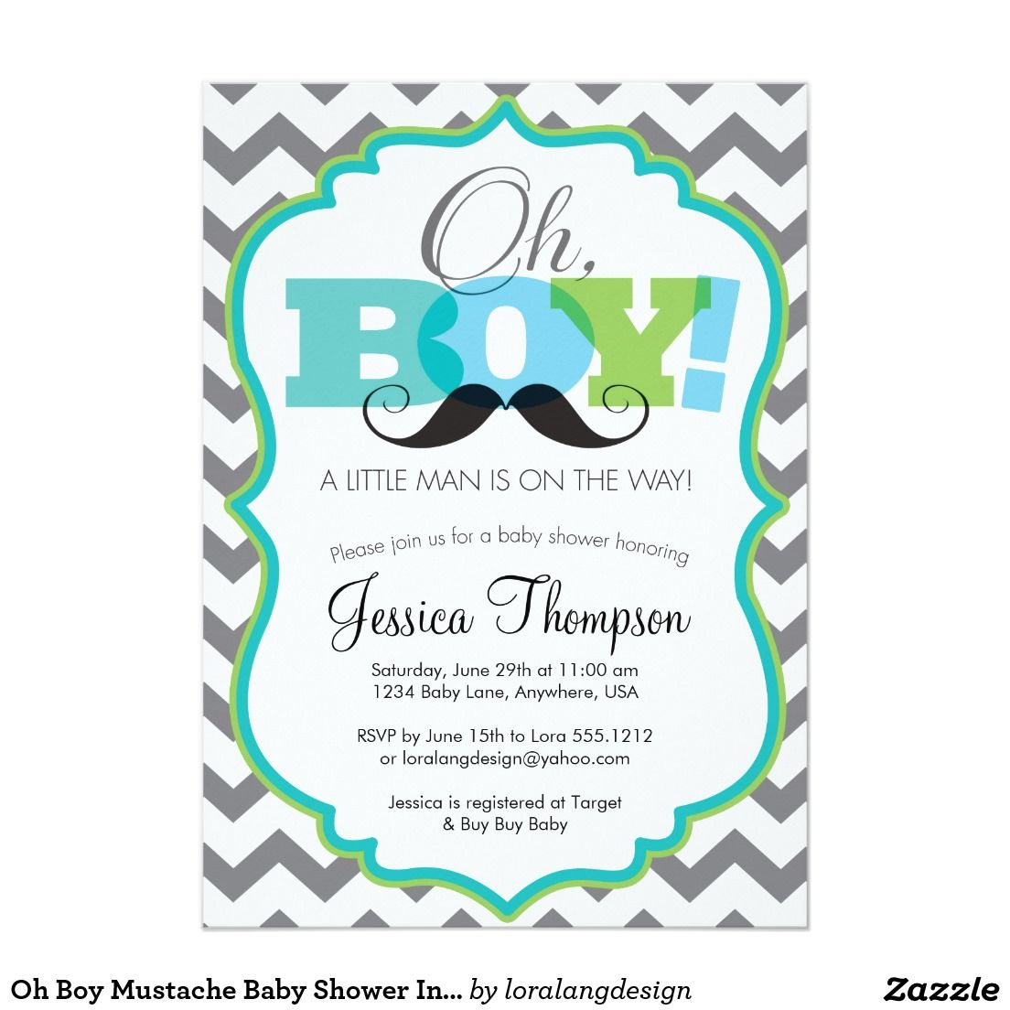 Oh Boy Mustache Baby Shower Invitation 5 X 7 Invitation Card