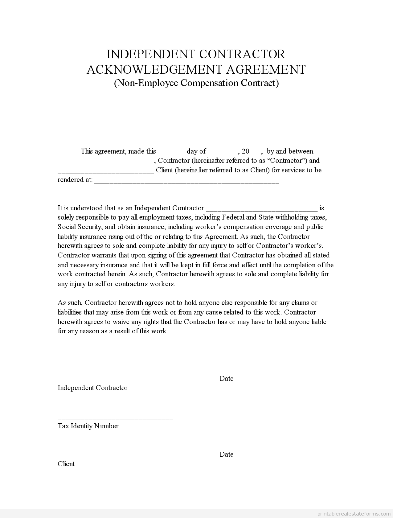 Sample Printable Indep Contractor Acknowledgement Agreement Form Real Estate Forms Real Estate Templates Legal Forms