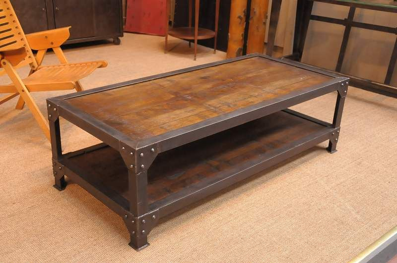 French Vintage Industrial Two Tiered Coffee Table With Wood Top