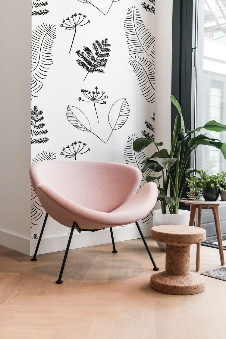 Scandinavian Vector Floral Wall Covering Removable Wallpaper