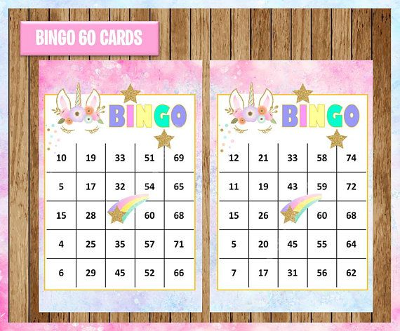 image about Printable Bingo Chips referred to as Unicorn 60 Playing cards instantaneous down load, Printable Unicorn Bingo